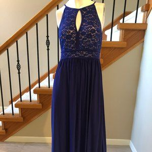 Nightway Lace bodice Maxi Dress Blue Size 10P